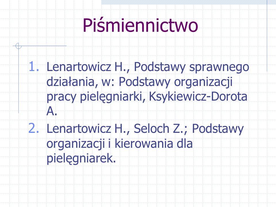 Piśmiennictwo Lenartowicz H., Podstawy sprawnego działania, w: Podstawy organizacji pracy pielęgniarki, Ksykiewicz-Dorota A.
