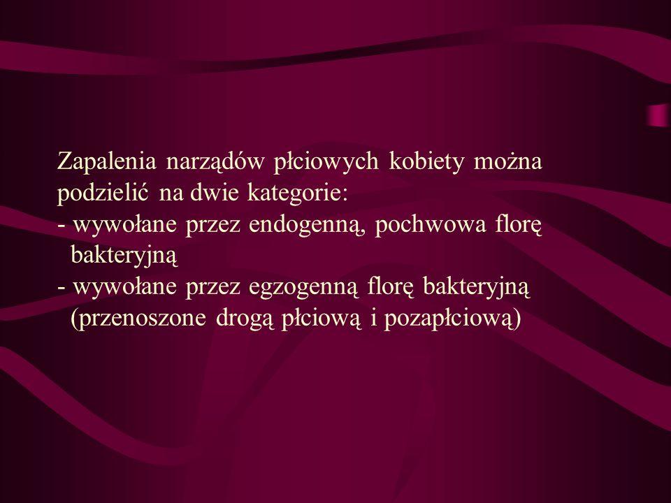 Zapalenia narządów płciowych kobiety można podzielić na dwie kategorie: - wywołane przez endogenną, pochwowa florę bakteryjną - wywołane przez egzogenną florę bakteryjną (przenoszone drogą płciową i pozapłciową)