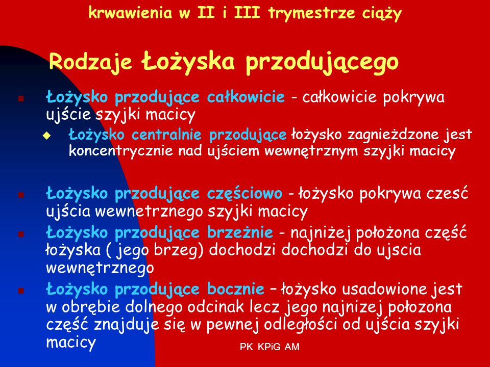 krwawienia w II i III trymestrze ciąży Rodzaje Łożyska przodującego