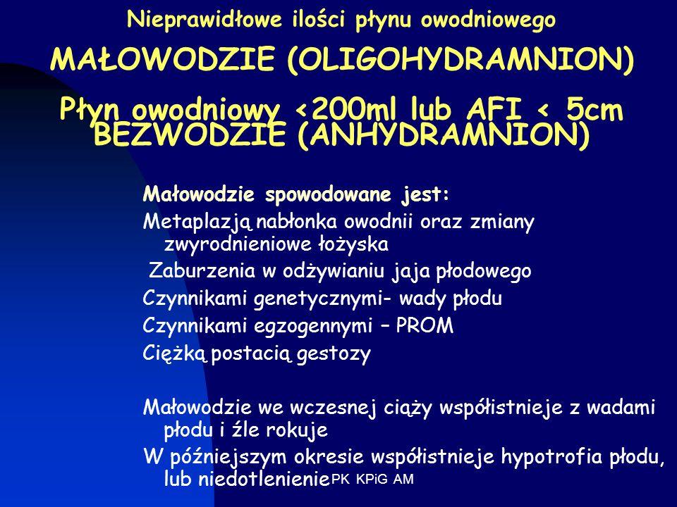 Nieprawidłowe ilości płynu owodniowego MAŁOWODZIE (OLIGOHYDRAMNION) Płyn owodniowy <200ml lub AFI < 5cm BEZWODZIE (ANHYDRAMNION)