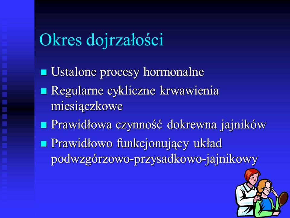 Okres dojrzałości Ustalone procesy hormonalne