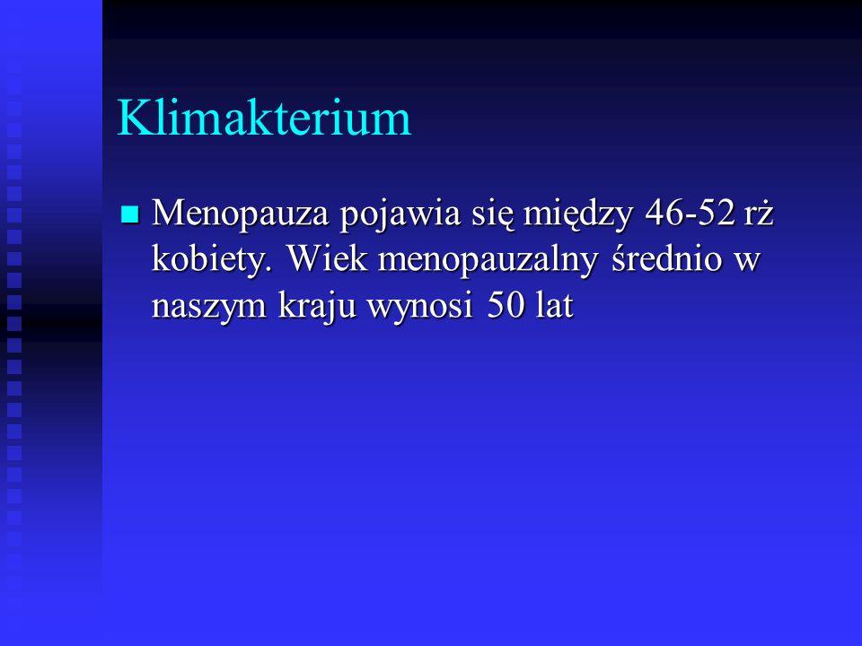 Klimakterium Menopauza pojawia się między 46-52 rż kobiety.