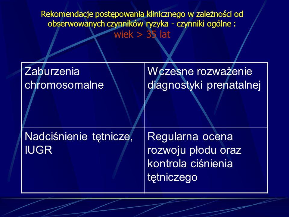 Zaburzenia chromosomalne Wczesne rozważenie diagnostyki prenatalnej