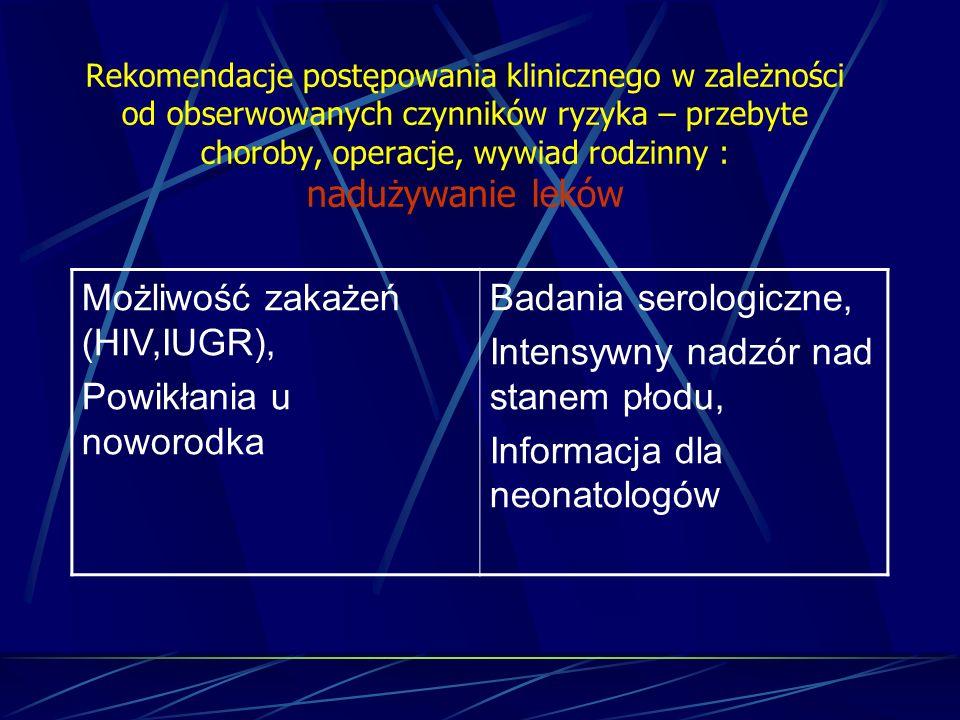 Możliwość zakażeń (HIV,IUGR), Powikłania u noworodka