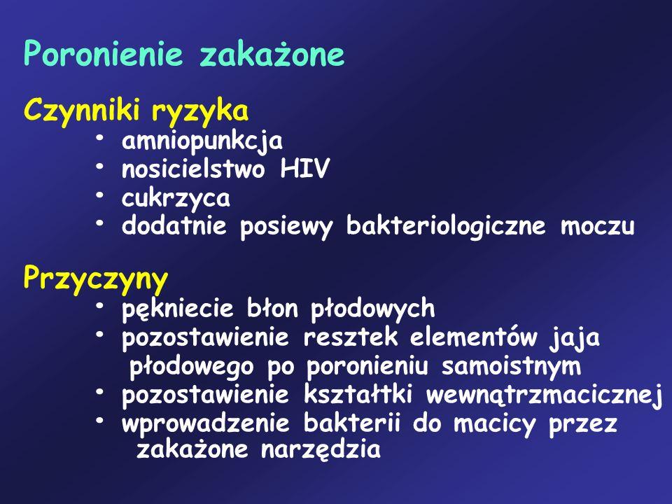 Poronienie zakażone Czynniki ryzyka • amniopunkcja • nosicielstwo HIV • cukrzyca • dodatnie posiewy bakteriologiczne moczu Przyczyny • pękniecie błon płodowych • pozostawienie resztek elementów jaja płodowego po poronieniu samoistnym • pozostawienie kształtki wewnątrzmacicznej • wprowadzenie bakterii do macicy przez zakażone narzędzia