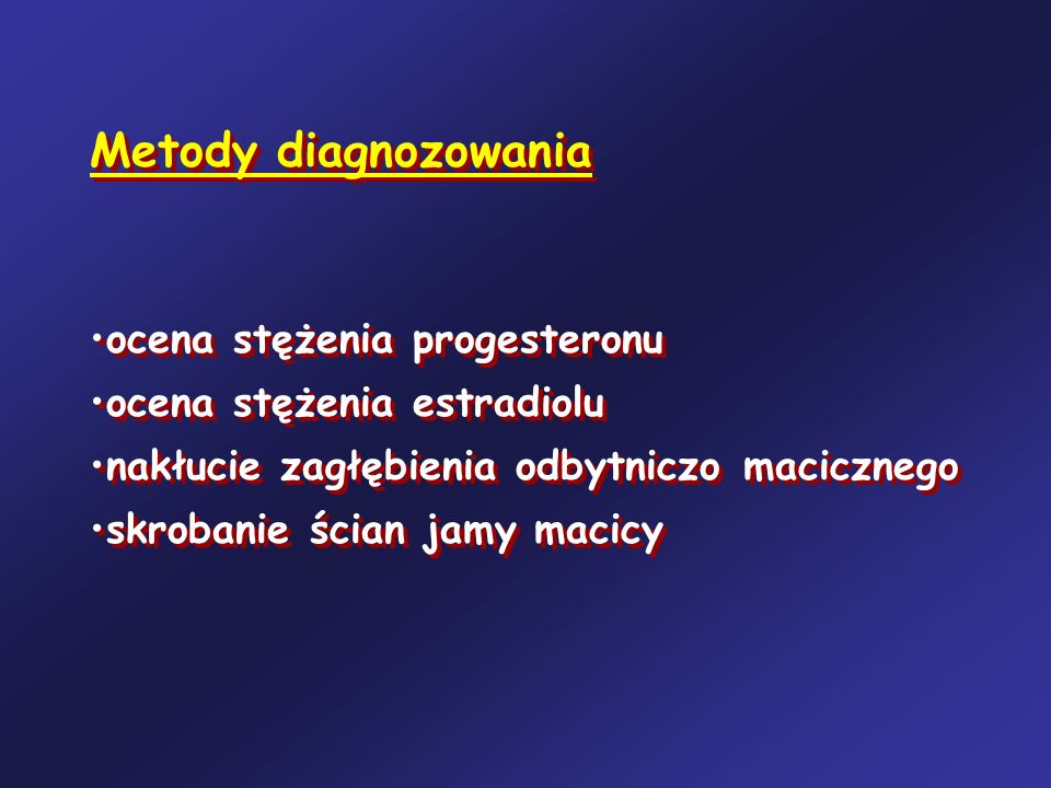 Metody diagnozowania ocena stężenia progesteronu