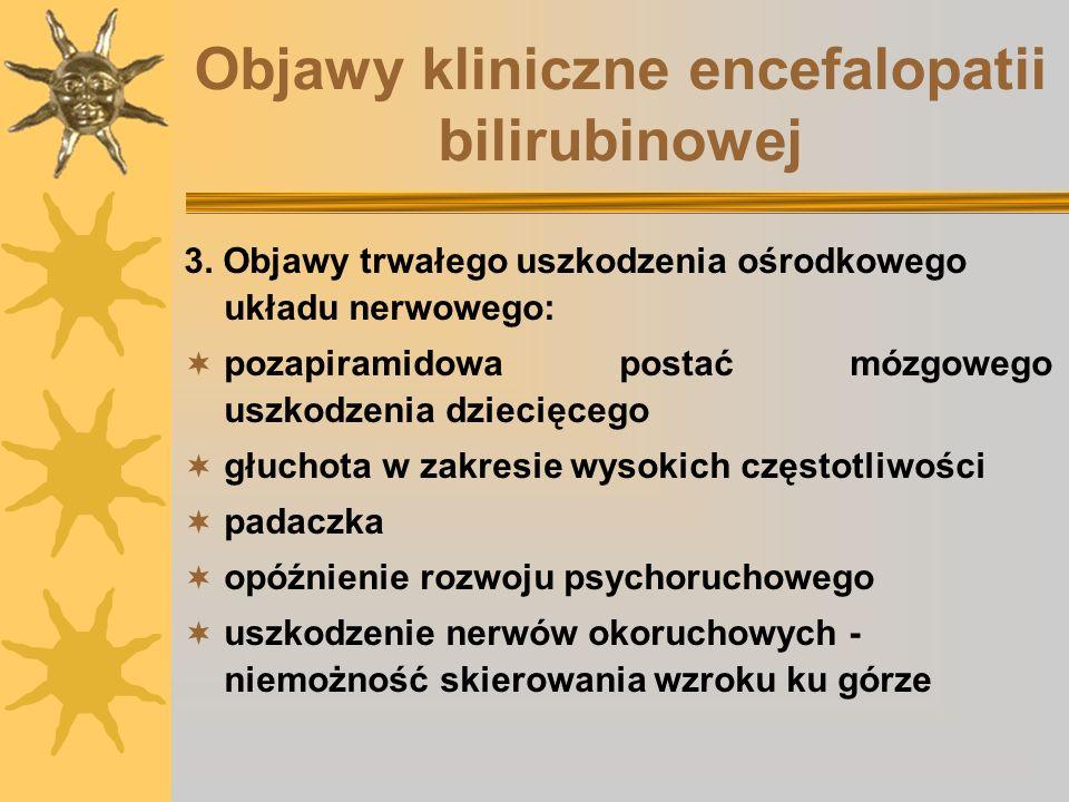 Objawy kliniczne encefalopatii bilirubinowej
