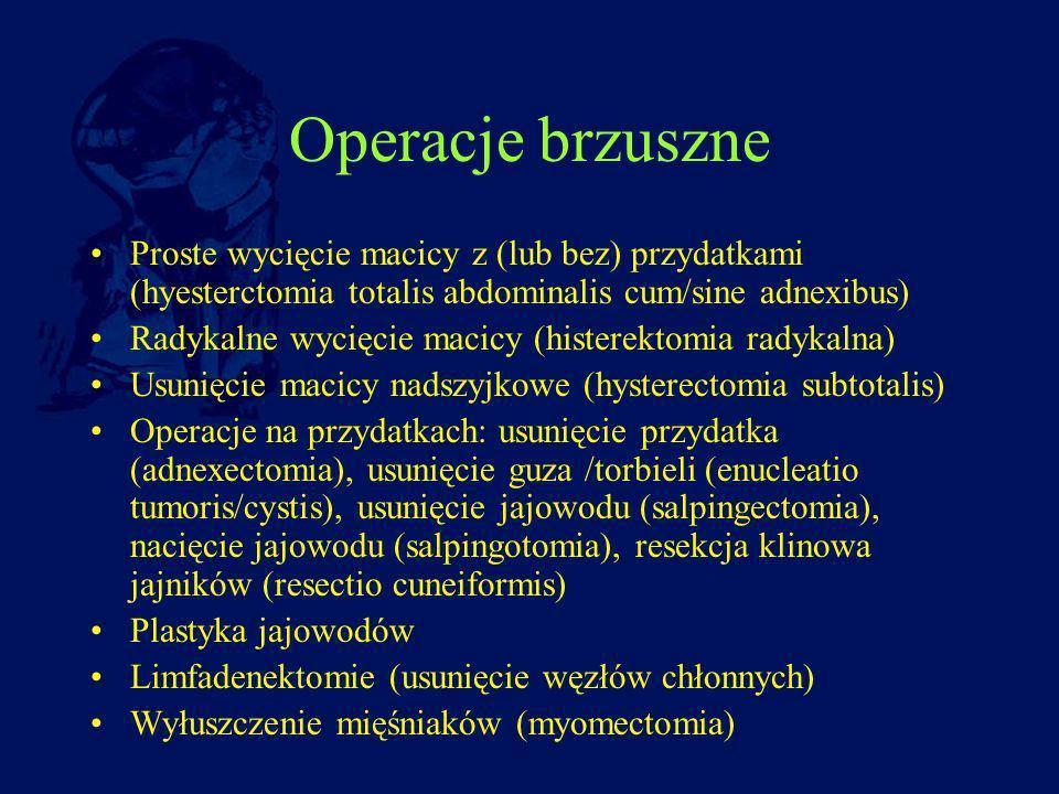 Operacje brzuszne Proste wycięcie macicy z (lub bez) przydatkami (hyesterctomia totalis abdominalis cum/sine adnexibus)