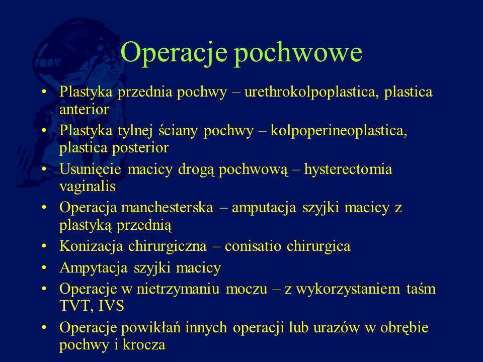 Operacje pochwowe Plastyka przednia pochwy – urethrokolpoplastica, plastica anterior.