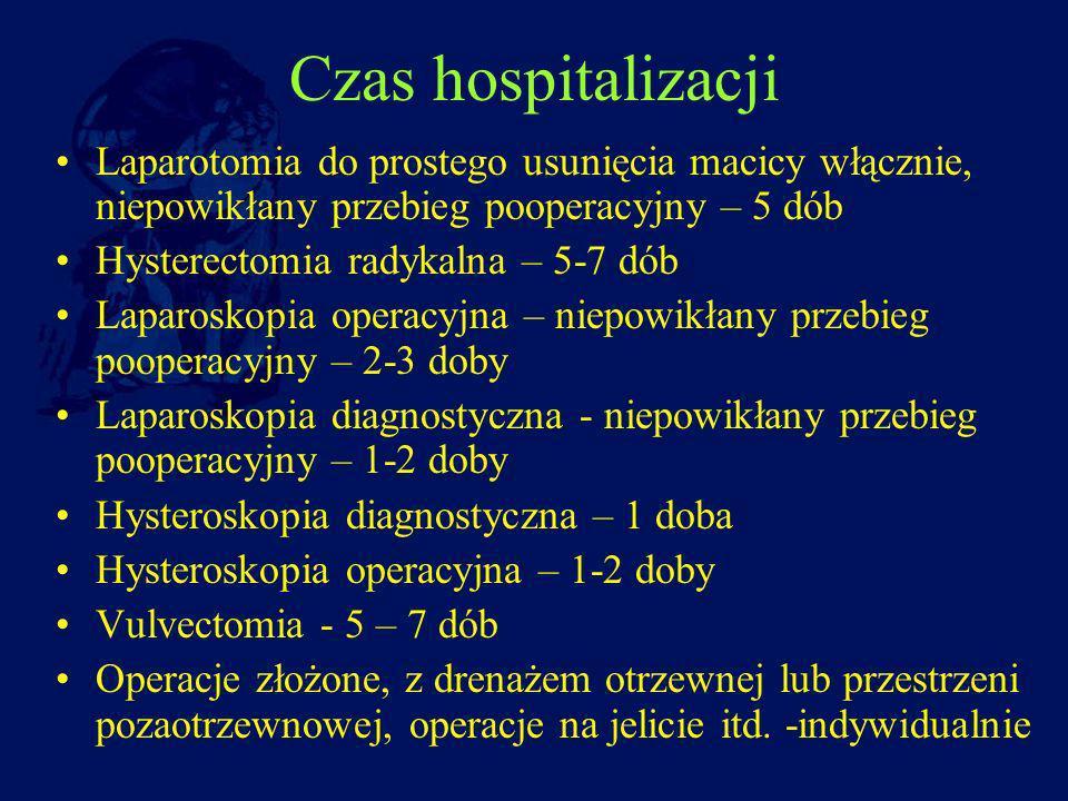Czas hospitalizacji Laparotomia do prostego usunięcia macicy włącznie, niepowikłany przebieg pooperacyjny – 5 dób.