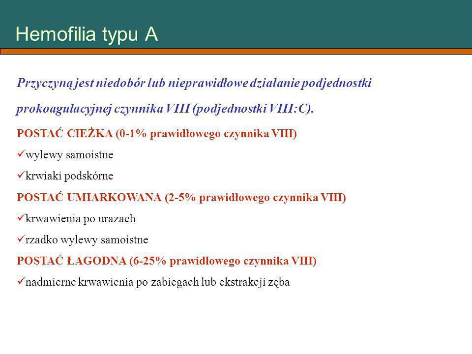 Hemofilia typu A Przyczyną jest niedobór lub nieprawidłowe działanie podjednostki prokoagulacyjnej czynnika VIII (podjednostki VIII:C).