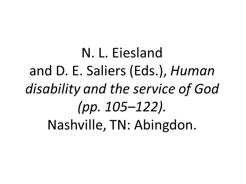 N. L. Eiesland and D. E. Saliers (Eds