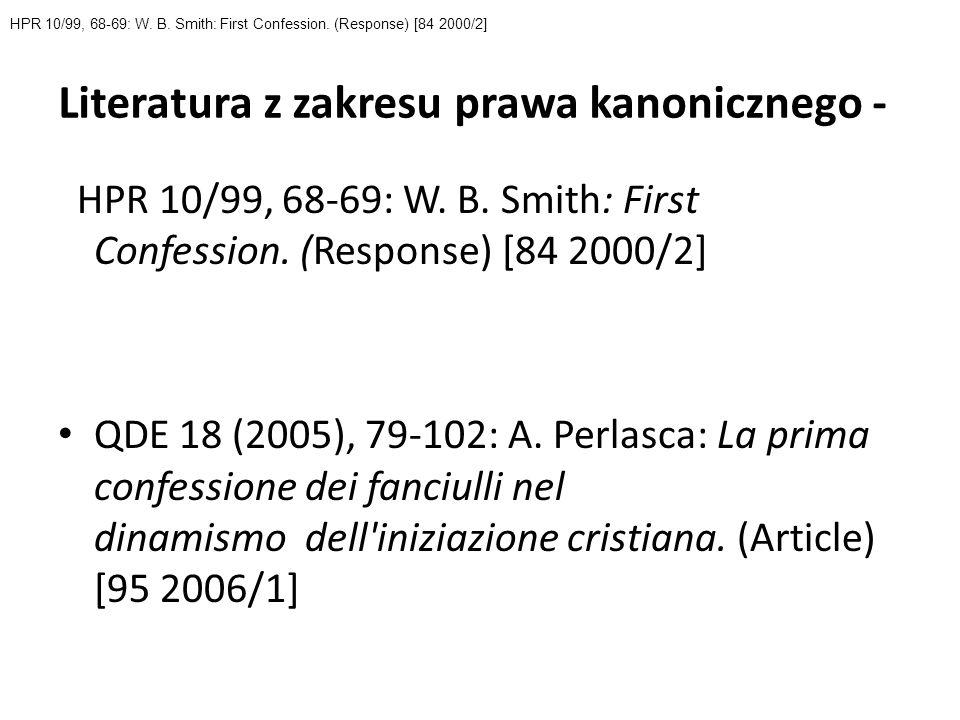 Literatura z zakresu prawa kanonicznego -