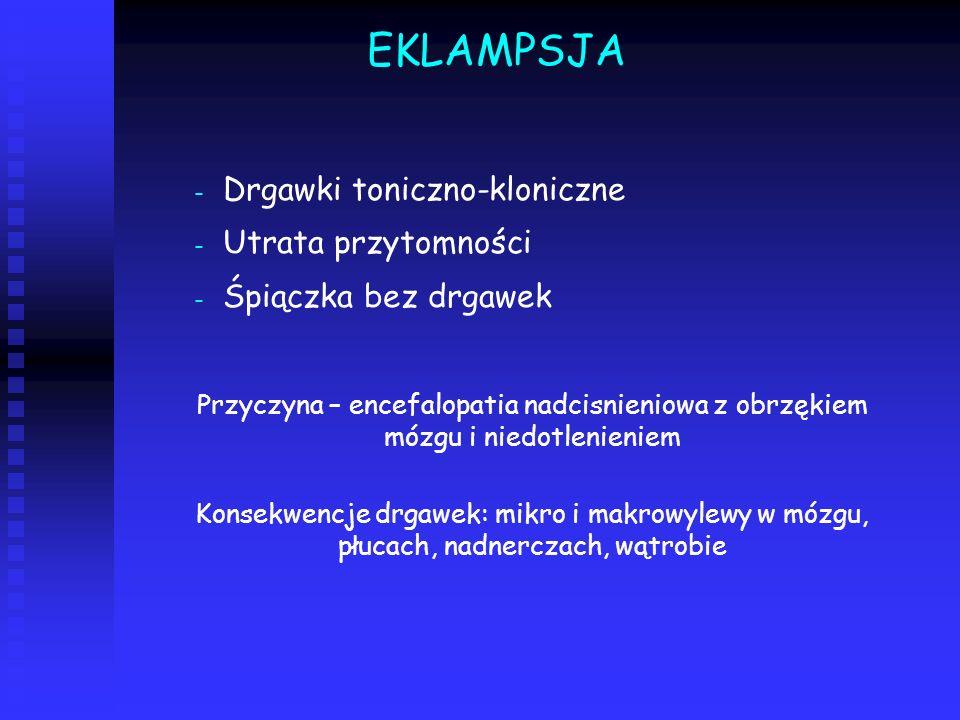 EKLAMPSJA Drgawki toniczno-kloniczne Utrata przytomności