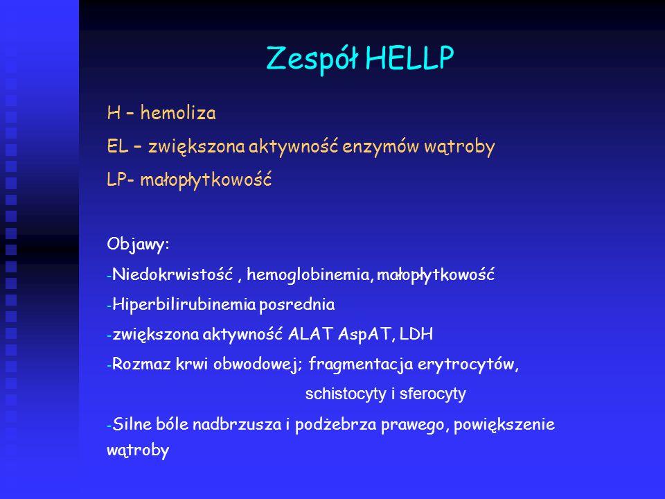 Zespół HELLP H – hemoliza EL – zwiększona aktywność enzymów wątroby
