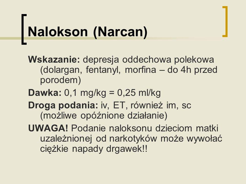 Nalokson (Narcan) Wskazanie: depresja oddechowa polekowa (dolargan, fentanyl, morfina – do 4h przed porodem)
