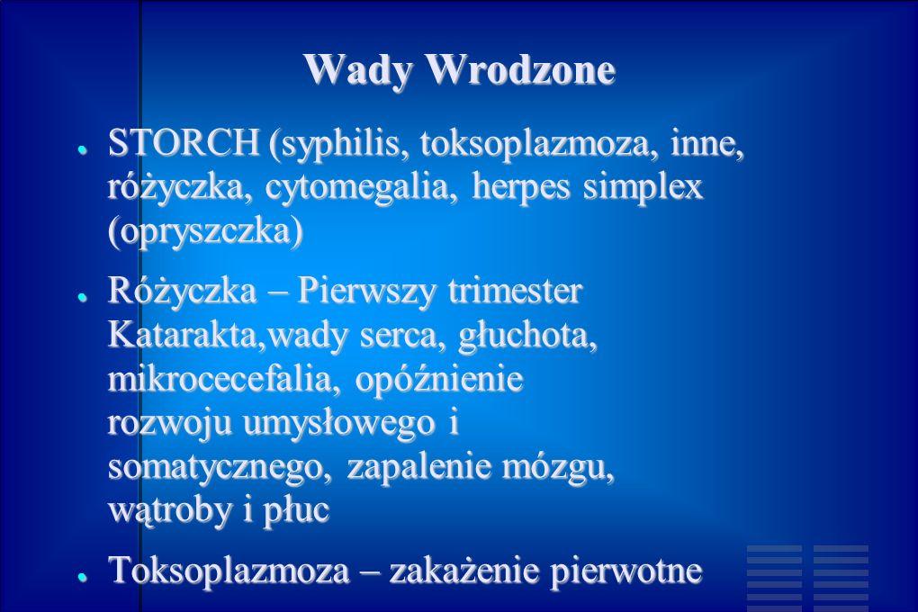 Wady WrodzoneSTORCH (syphilis, toksoplazmoza, inne, różyczka, cytomegalia, herpes simplex (opryszczka)
