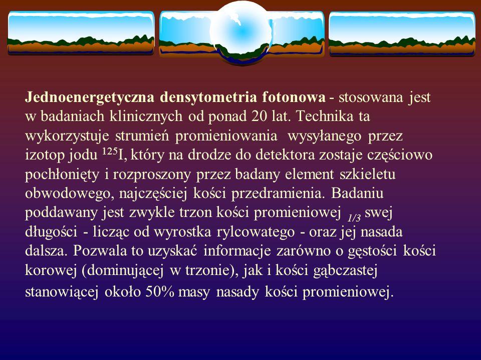 Jednoenergetyczna densytometria fotonowa - stosowana jest w badaniach klinicznych od ponad 20 lat.