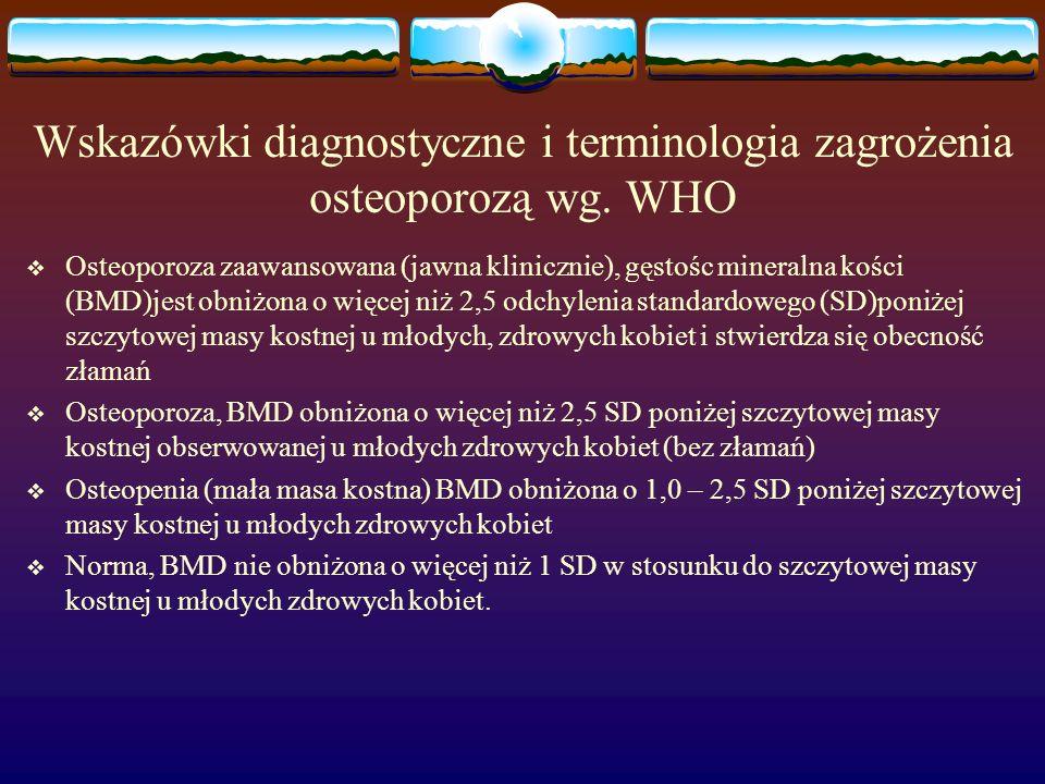 Wskazówki diagnostyczne i terminologia zagrożenia osteoporozą wg. WHO