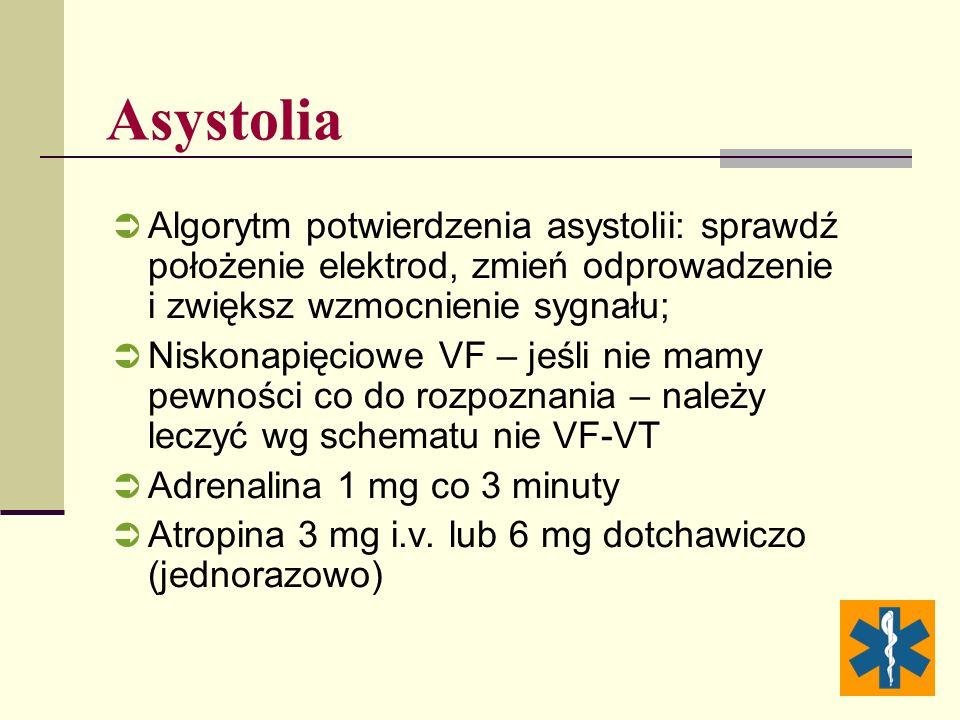 Asystolia Algorytm potwierdzenia asystolii: sprawdź położenie elektrod, zmień odprowadzenie i zwiększ wzmocnienie sygnału;