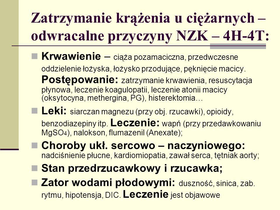 Zatrzymanie krążenia u ciężarnych – odwracalne przyczyny NZK – 4H-4T: