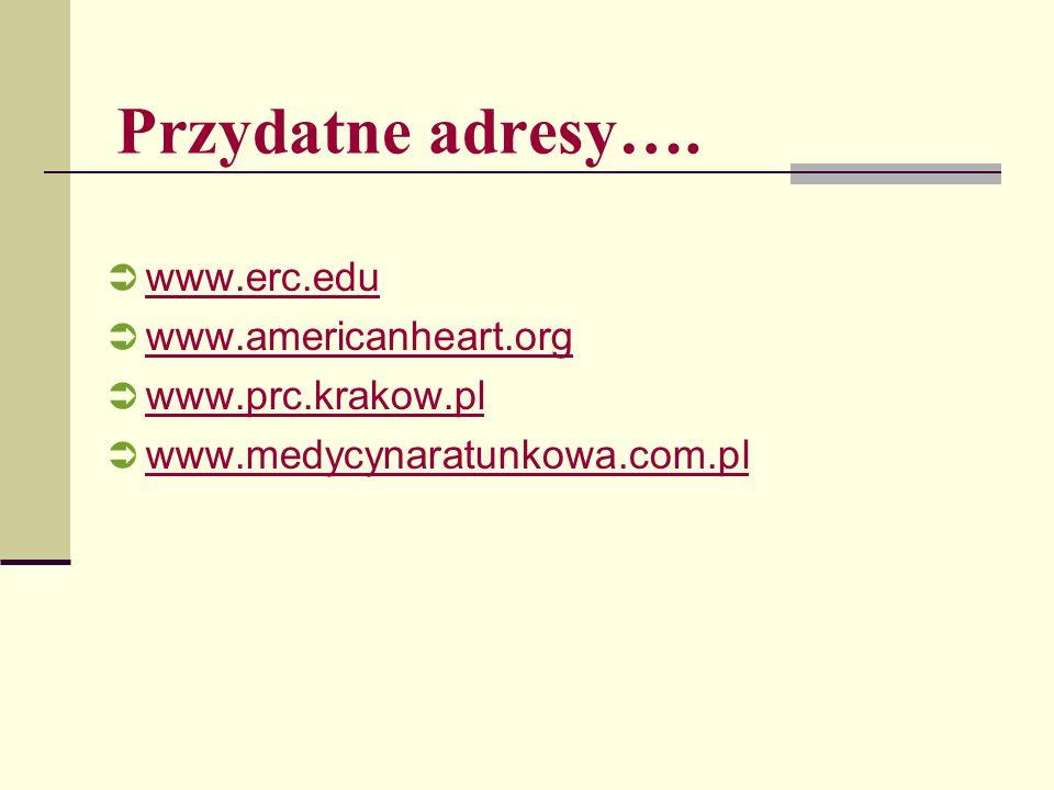 Przydatne adresy…. www.erc.edu www.americanheart.org www.prc.krakow.pl