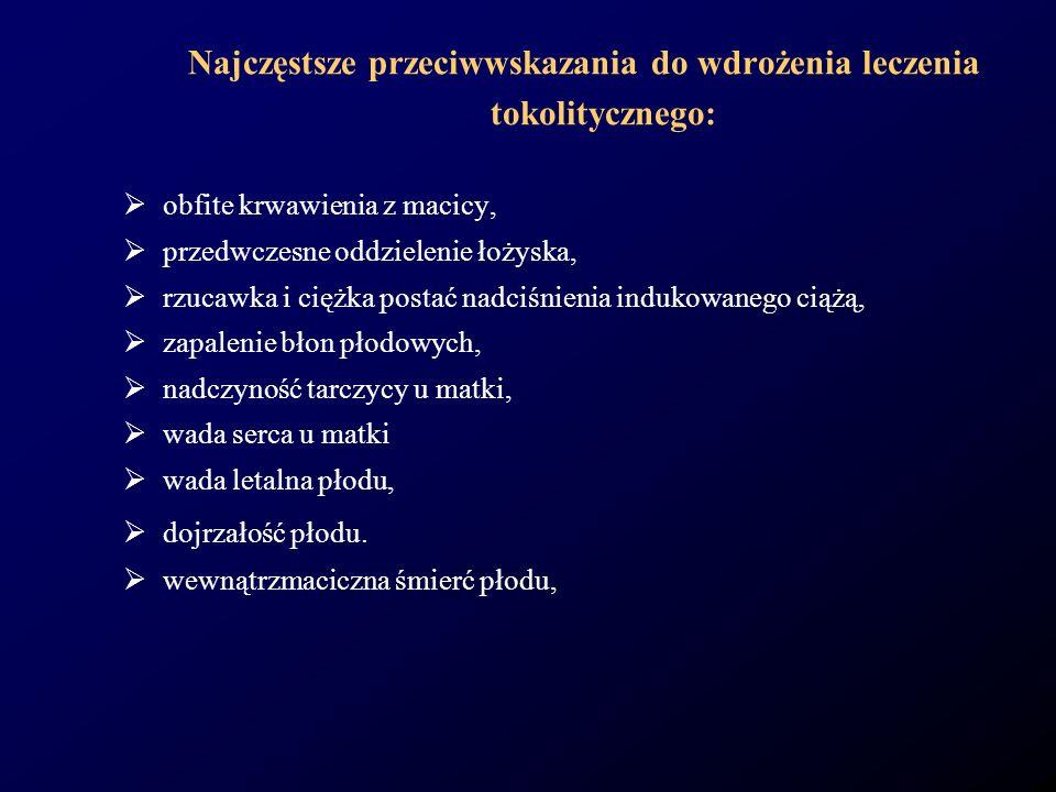 Najczęstsze przeciwwskazania do wdrożenia leczenia tokolitycznego: