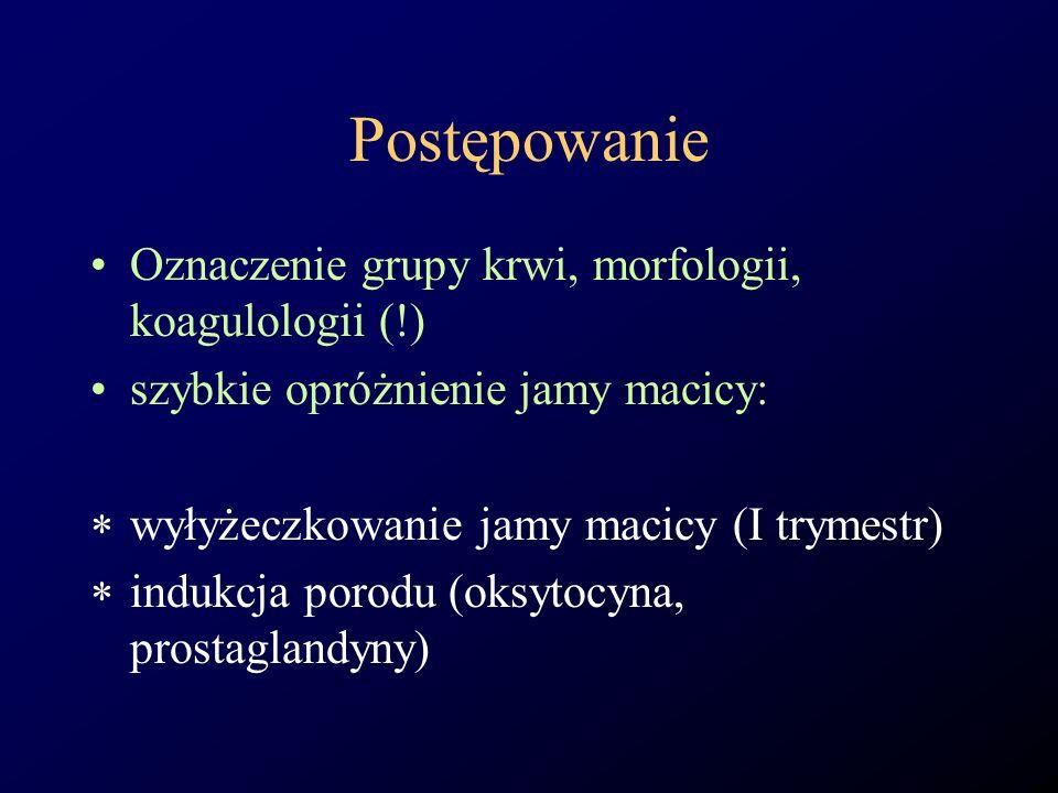 Postępowanie Oznaczenie grupy krwi, morfologii, koagulologii (!)
