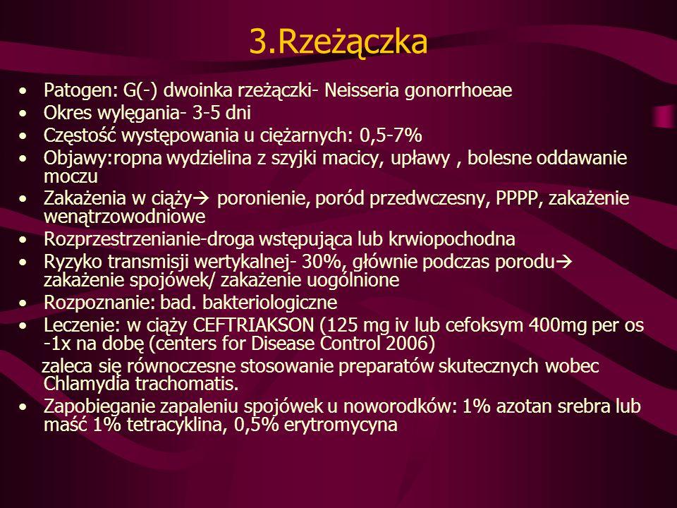 3.Rzeżączka Patogen: G(-) dwoinka rzeżączki- Neisseria gonorrhoeae