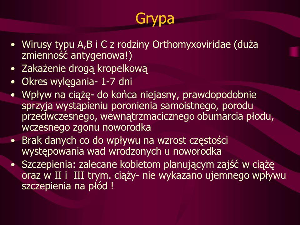 Grypa Wirusy typu A,B i C z rodziny Orthomyxoviridae (duża zmienność antygenowa!) Zakażenie drogą kropelkową.