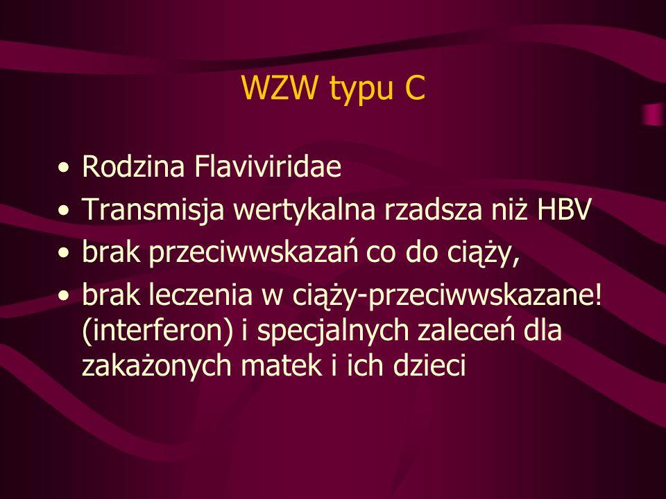 WZW typu C Rodzina Flaviviridae Transmisja wertykalna rzadsza niż HBV