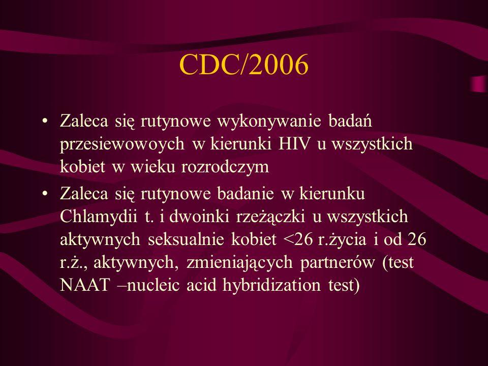 CDC/2006 Zaleca się rutynowe wykonywanie badań przesiewowoych w kierunki HIV u wszystkich kobiet w wieku rozrodczym.