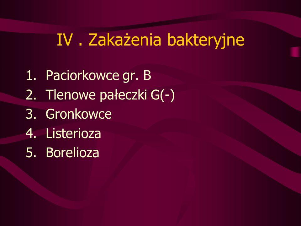 IV . Zakażenia bakteryjne