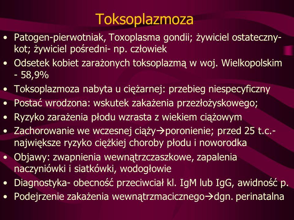 Toksoplazmoza Patogen-pierwotniak, Toxoplasma gondii; żywiciel ostateczny-kot; żywiciel pośredni- np. człowiek.