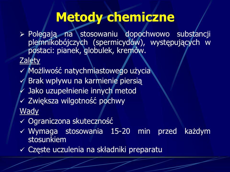 Metody chemiczne Polegają na stosowaniu dopochwowo substancji plemnikobójczych (spermicydów), występujących w postaci: pianek, globulek, kremów.