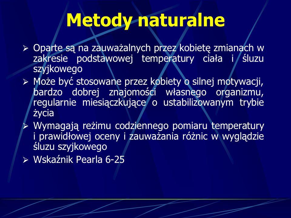 Metody naturalne Oparte są na zauważalnych przez kobietę zmianach w zakresie podstawowej temperatury ciała i śluzu szyjkowego.