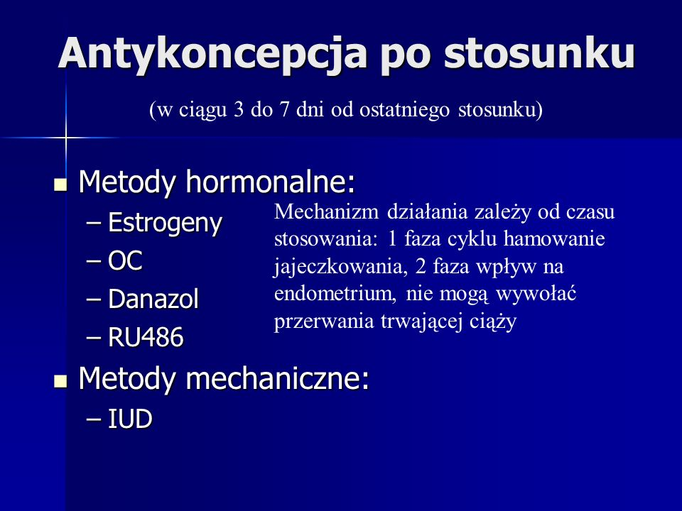 Antykoncepcja po stosunku