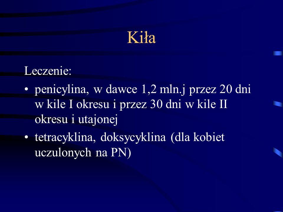 Kiła Leczenie: penicylina, w dawce 1,2 mln.j przez 20 dni w kile I okresu i przez 30 dni w kile II okresu i utajonej.