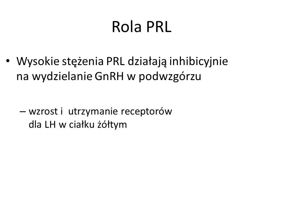 Rola PRL Wysokie stężenia PRL działają inhibicyjnie na wydzielanie GnRH w podwzgórzu.