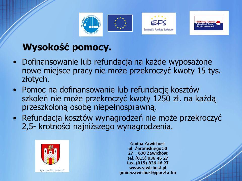 Wysokość pomocy.Dofinansowanie lub refundacja na każde wyposażone nowe miejsce pracy nie może przekroczyć kwoty 15 tys. złotych.