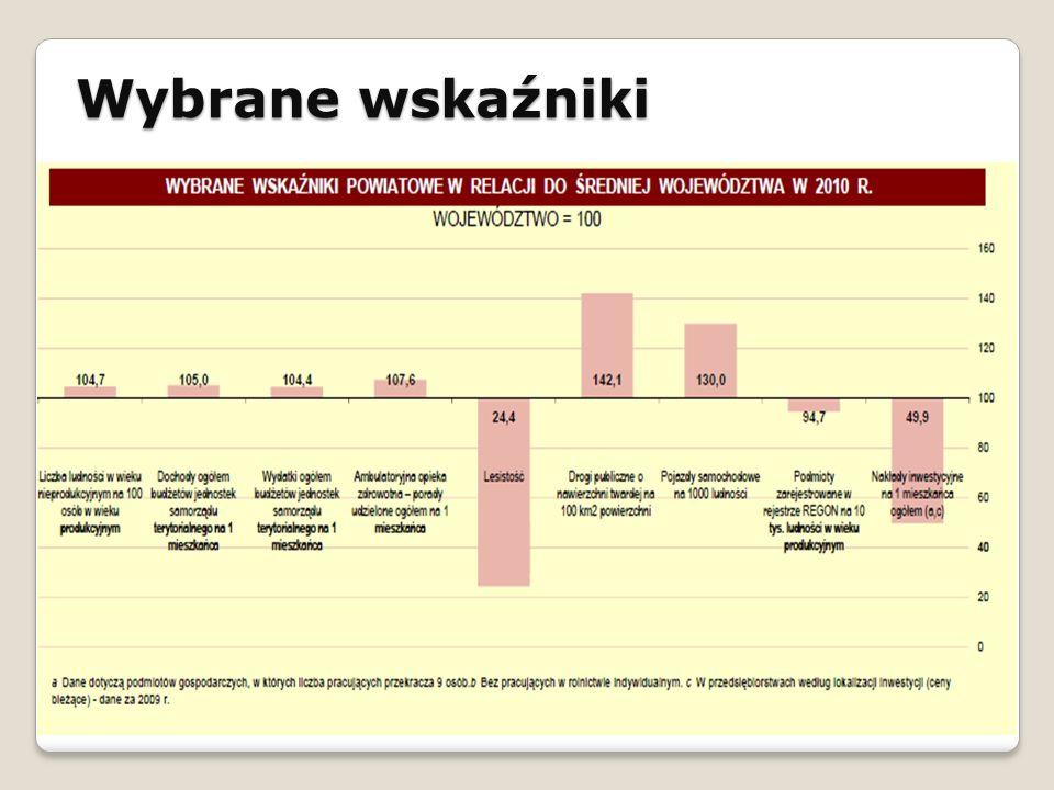 Wybrane wskaźniki STRATEGIA ROZWOJU SPOŁECZNO - GOSPODARCZEGO GMINY ŁAPANÓW NA LATA 2010 - 2020
