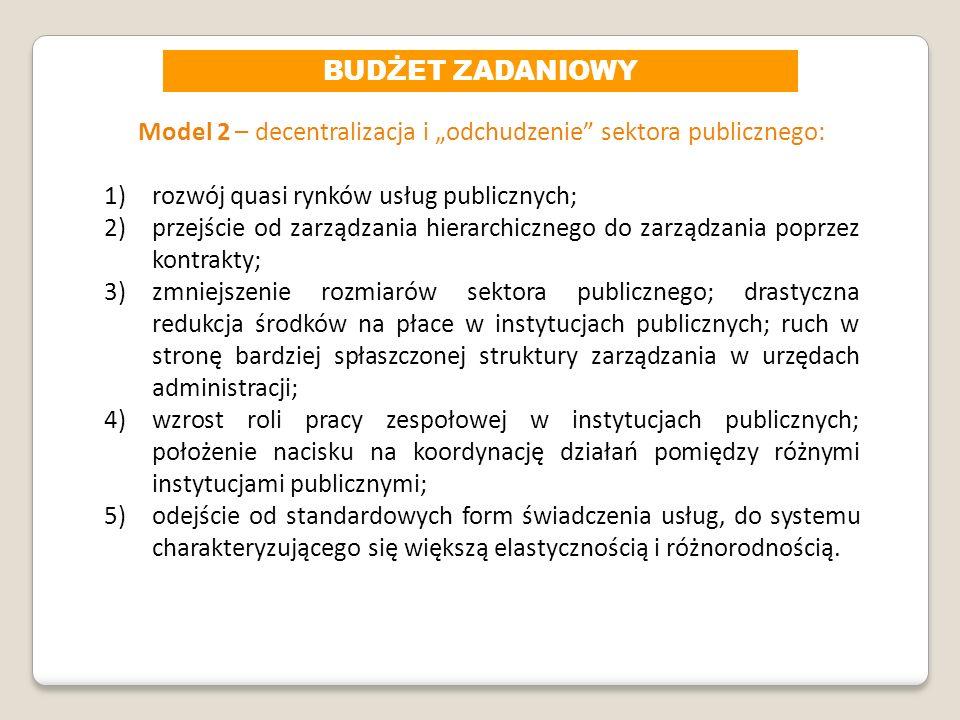 """Model 2 – decentralizacja i """"odchudzenie sektora publicznego:"""