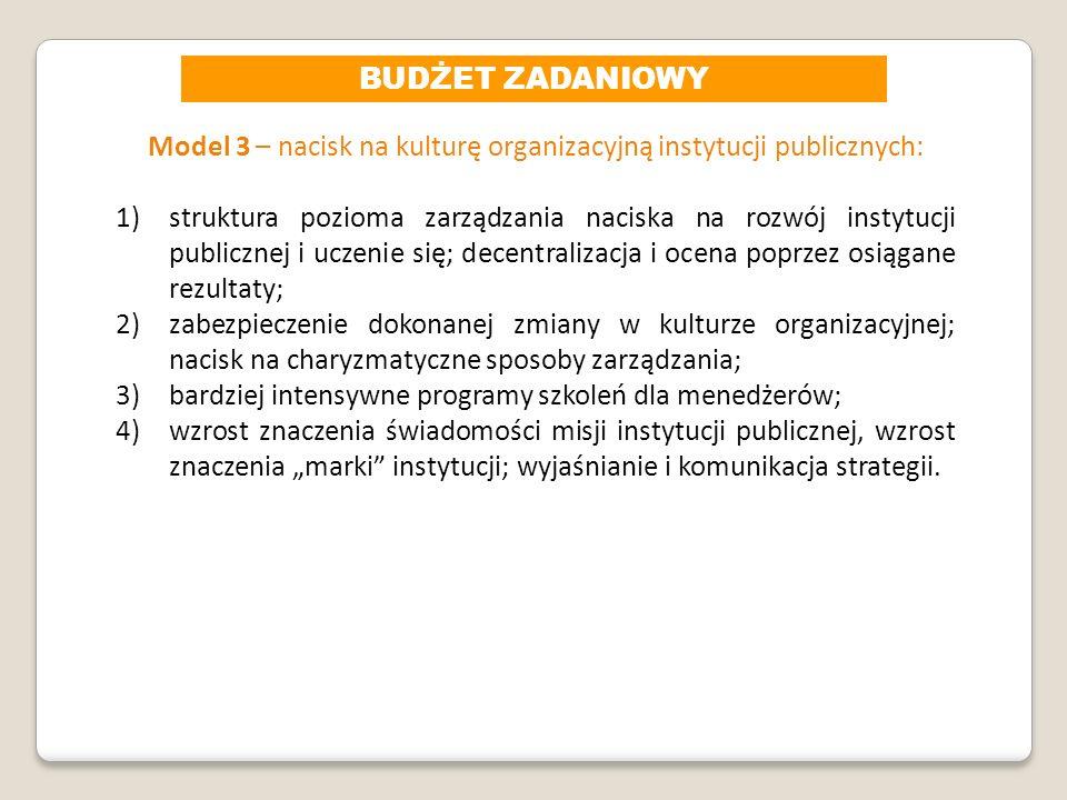 Model 3 – nacisk na kulturę organizacyjną instytucji publicznych: