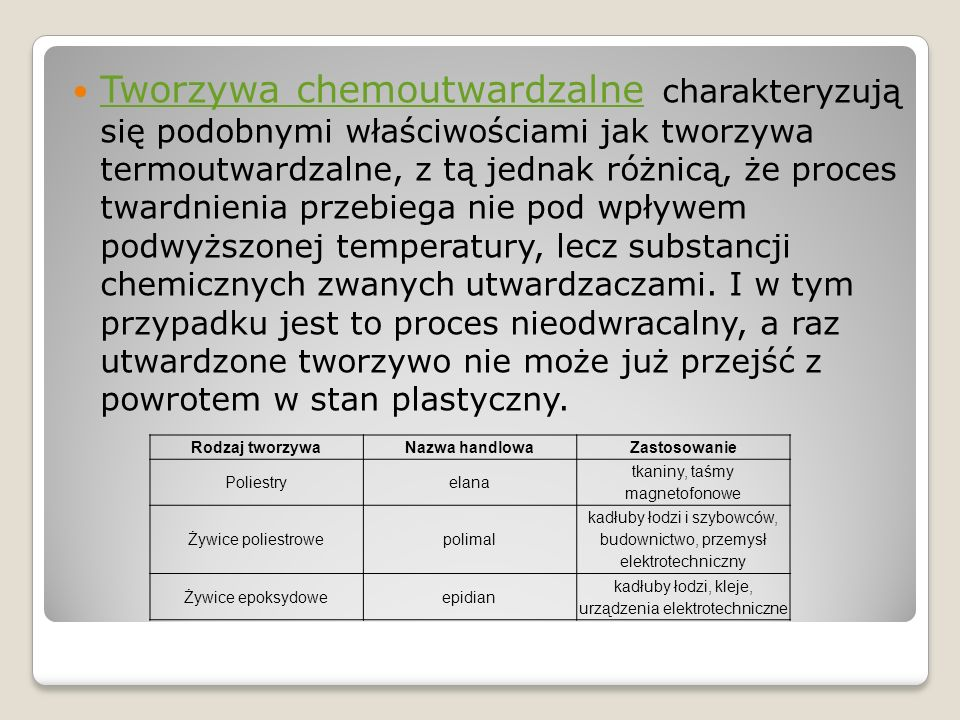 Tworzywa chemoutwardzalne charakteryzują się podobnymi właściwościami jak tworzywa termoutwardzalne, z tą jednak różnicą, że proces twardnienia przebiega nie pod wpływem podwyższonej temperatury, lecz substancji chemicznych zwanych utwardzaczami. I w tym przypadku jest to proces nieodwracalny, a raz utwardzone tworzywo nie może już przejść z powrotem w stan plastyczny.