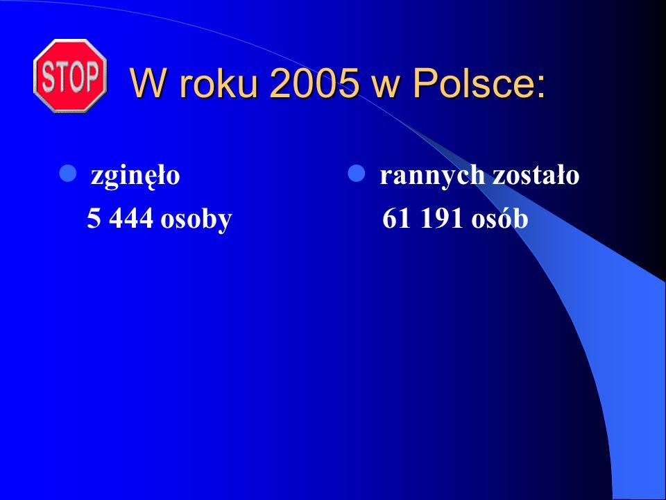W roku 2005 w Polsce: zginęło 5 444 osoby rannych zostało 61 191 osób