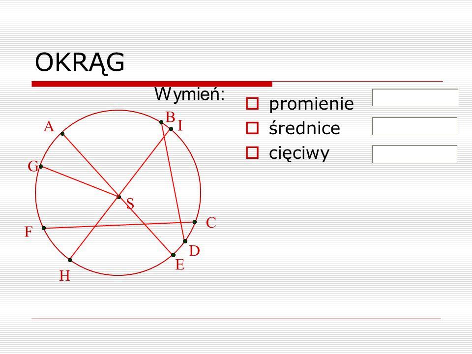 OKRĄG Wymień: promienie średnice cięciwy B A I G S C F D E H