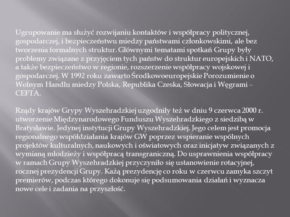 Ugrupowanie ma służyć rozwijaniu kontaktów i współpracy politycznej, gospodarczej, i bezpieczeństwu miedzy państwami członkowskimi, ale bez tworzenia formalnych struktur. Głównymi tematami spotkań Grupy były problemy związane z przyjęciem tych państw do struktur europejskich i NATO, a także bezpieczeństwo w regionie, rozszerzenie współpracy wojskowej i gospodarczej. W 1992 roku zawarto Środkowoeuropejskie Porozumienie o Wolnym Handlu miedzy Polska, Republika Czeska, Słowacja i Węgrami – CEFTA.