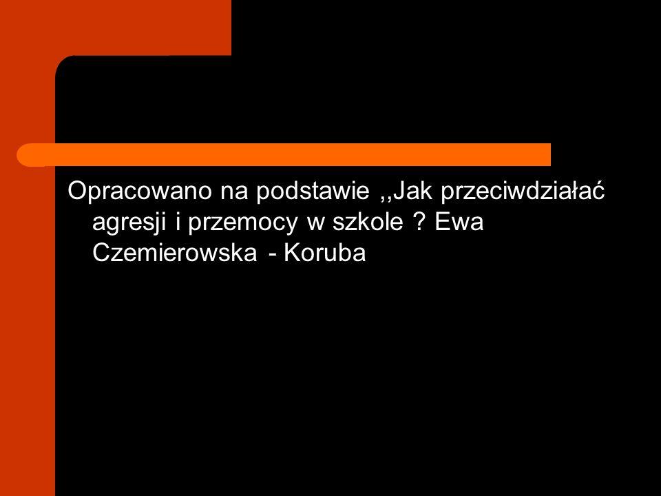 Opracowano na podstawie ,,Jak przeciwdziałać agresji i przemocy w szkole Ewa Czemierowska - Koruba