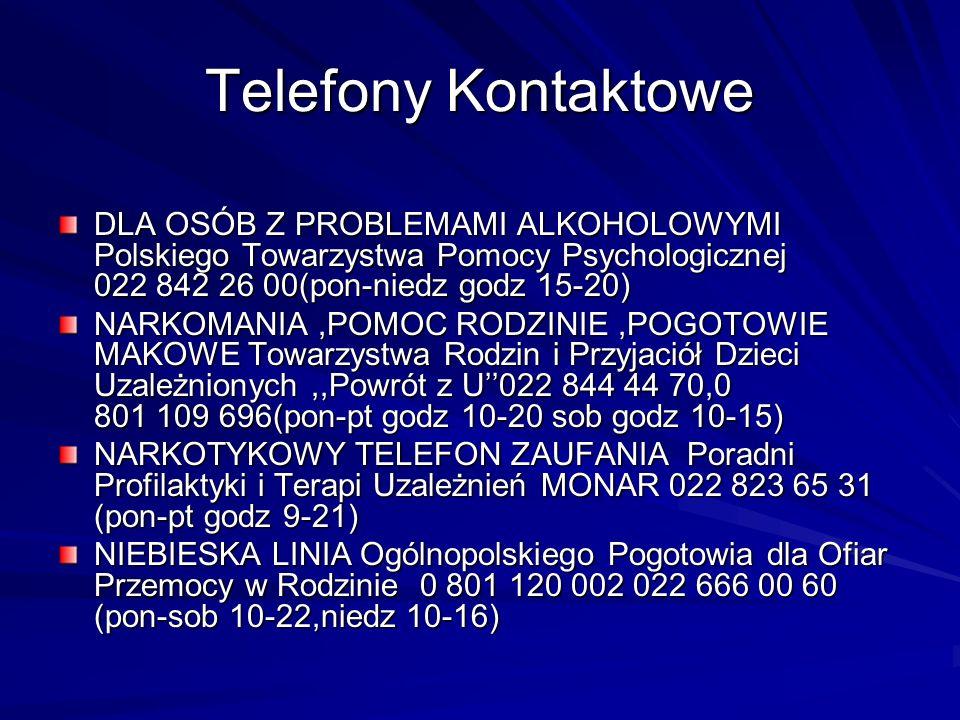 Telefony Kontaktowe DLA OSÓB Z PROBLEMAMI ALKOHOLOWYMI Polskiego Towarzystwa Pomocy Psychologicznej 022 842 26 00(pon-niedz godz 15-20)
