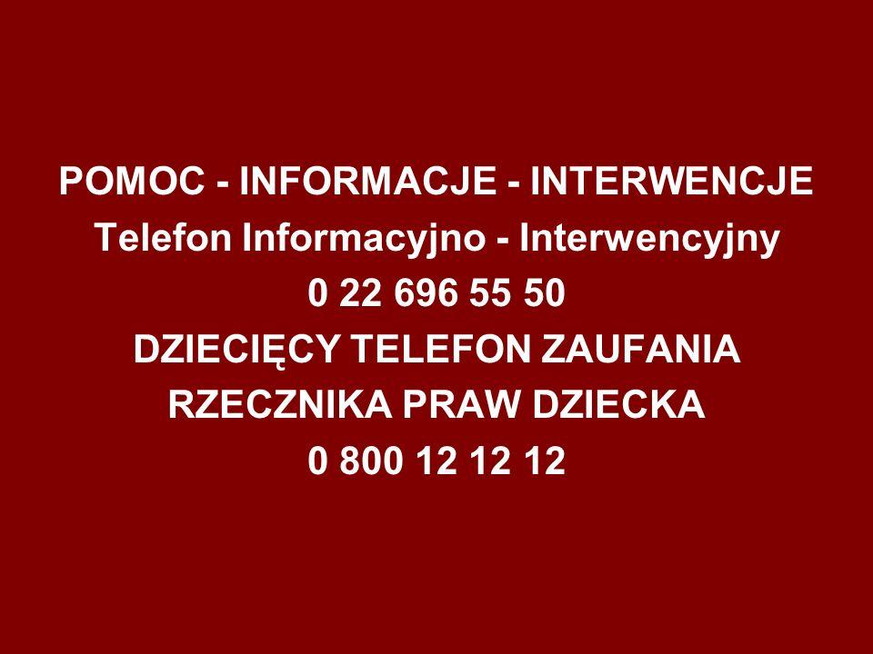 POMOC - INFORMACJE - INTERWENCJE Telefon Informacyjno - Interwencyjny